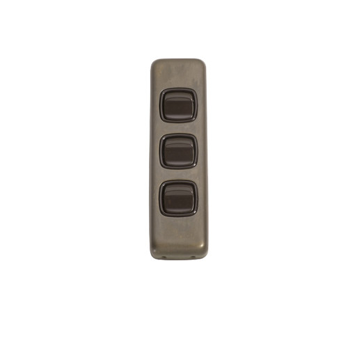 3 Gang Flat Plate Heritage Architrave Light Switches - Antique Brass Plate with Brown Rocker 5846