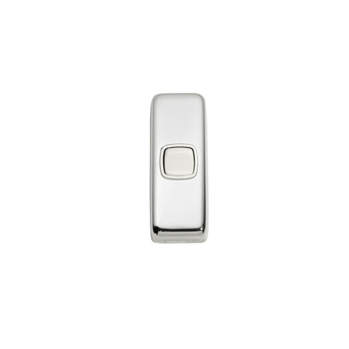 1 Gang Flat Plate Heritage Architrave Light Switches - Chrome Plate with White Rocker