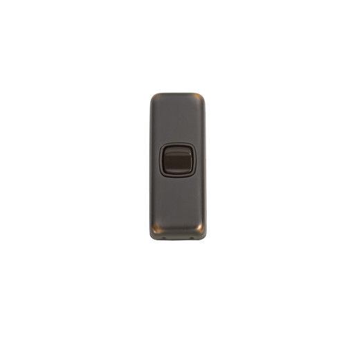 1 Gang Flat Plate Heritage Architrave Light Switches - Antique Copper Plate with Brown Rocker