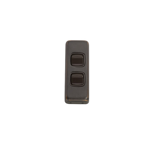 2 Gang Flat Plate Heritage Architrave Light Switches - Antique Copper Plate with Brown Rocker