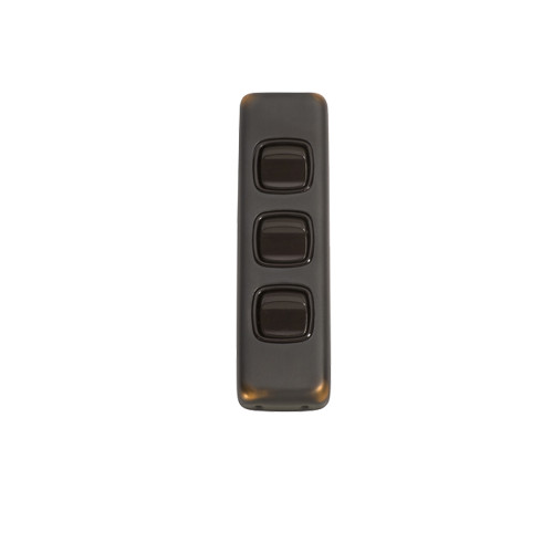 3 Gang Flat Plate Heritage Architrave Light Switches - Antique Copper Plate with Brown Rocker