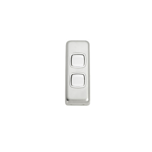 2 Gang Flat Plate Heritage Architrave Light Switches - Satin Chrome Plate with White Rocker