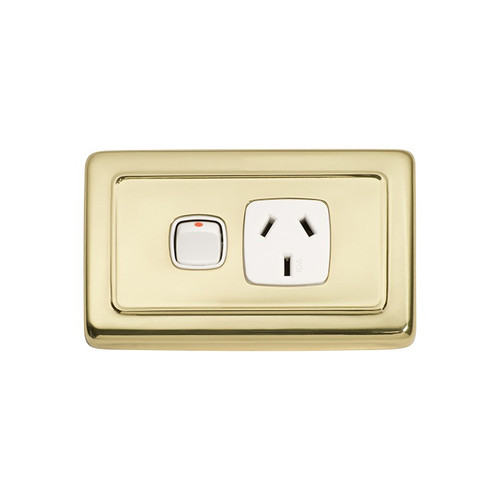Single GPO Flat Plate Classic Period Power Point - Polished Brass with White Inserts 5858