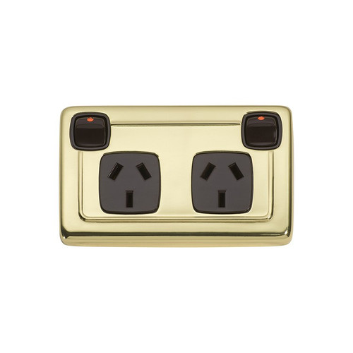 Polished Brass Double GPO Heritage Power Point - with Brown Inserts 5809