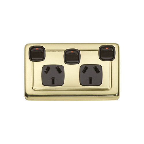 Classic Double GPO Flat Plate Heritage Power Point with Switch - Polished Brass with Brown Inserts 5807