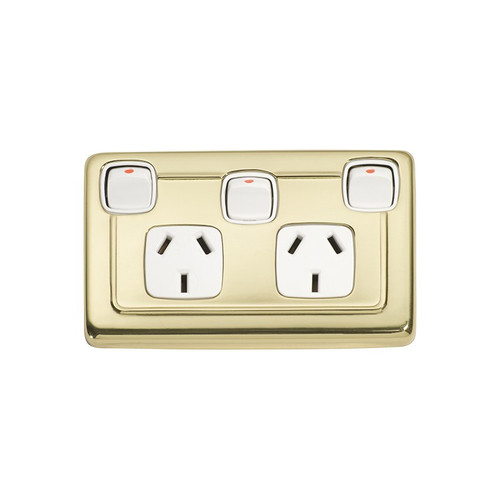 Classic Double GPO Flat Plate Period Power Point with Switch - Polished Brass with White Inserts 5857
