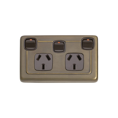 Classic Double GPO Flat Plate Heritage Style Power Point with Switch - Antique Brass with Brown Inserts 5847