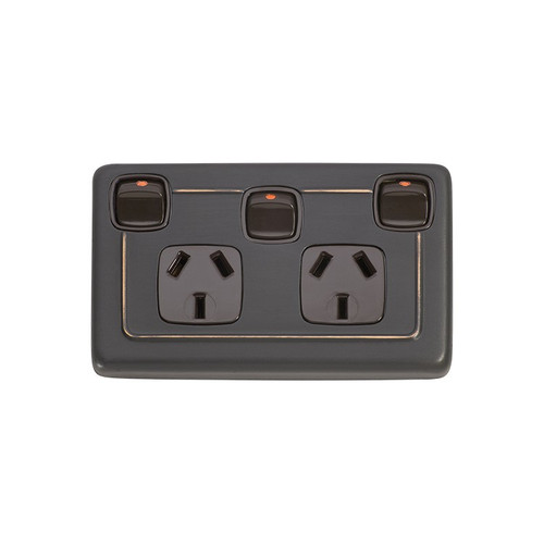 Classic Double GPO Flat Plate Country Style Power Point with Switch - Antique Copper with Brown Inserts 5817