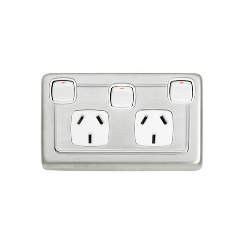 Double GPO Flat Plate Contemporary Power Point with Switch - Satin Chrome with White Inserts 5877