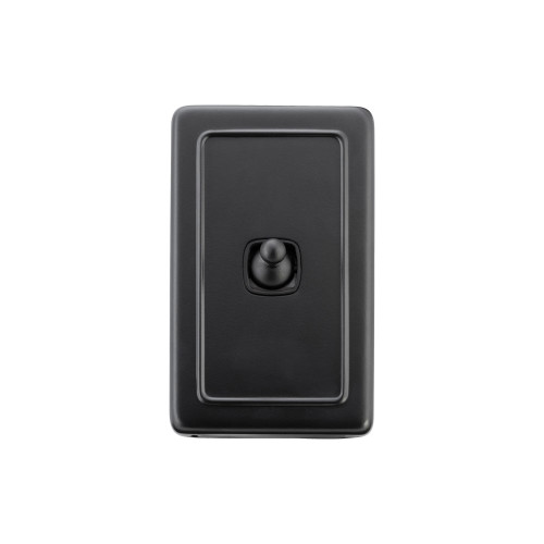 1 Gang Flat Plate Heritage Light Switches - Matt Black Toggle with Black Insert