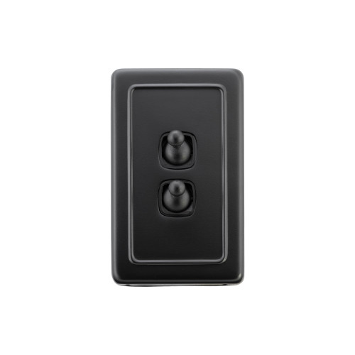 2 Gang Flat Plate Heritage Light Switches - Matte Black Toggle with Black Insert
