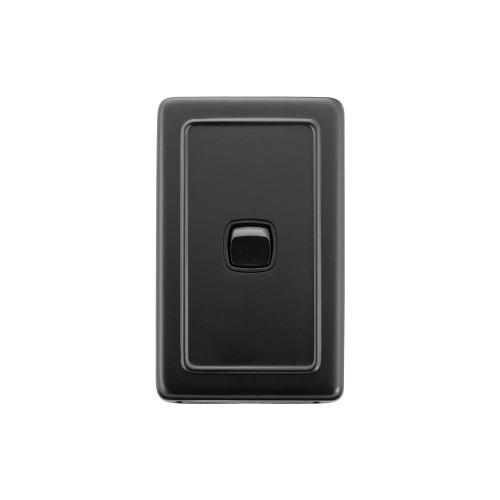 1 Gang Flat Plate Heritage Light Switches - Matt Black with Black Rocker
