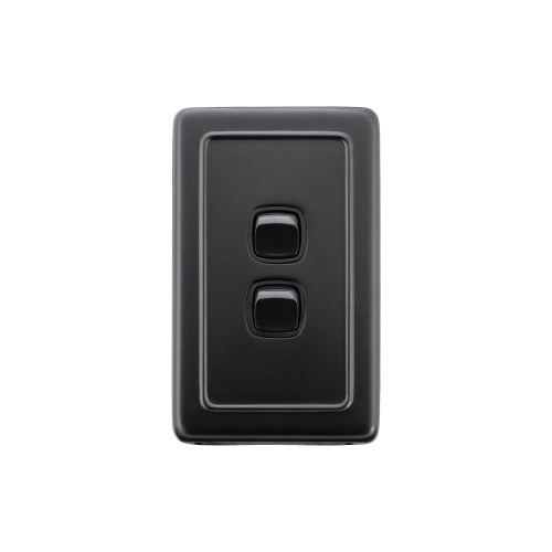 2 Gang Flat Plate Heritage Light Switches - Matte Black with Black Rocker