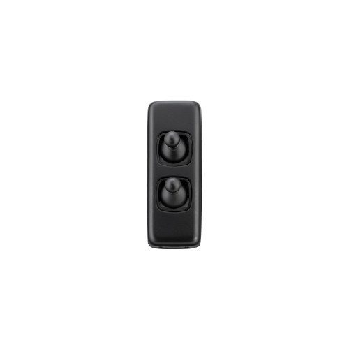 2 Gang Flat Plate Vintage Architrave Light Switches - Matte Black Toggle with Black Base