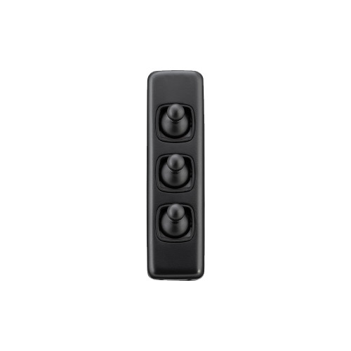 3 Gang Flat Plate Heritage Architrave Light Switches - Matt Black Toggle with Black Base