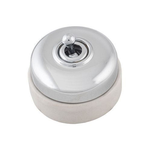 Nostalgic Porcelain Base Switch with Chrome Plated Cover 5110