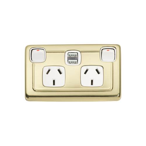Brass Double GPO with USB Outlet