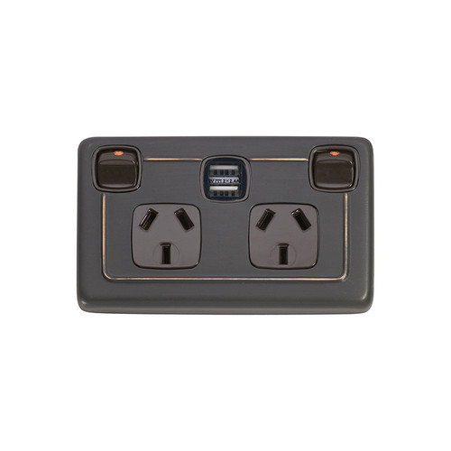 Antique Double GPO with USB Outlet