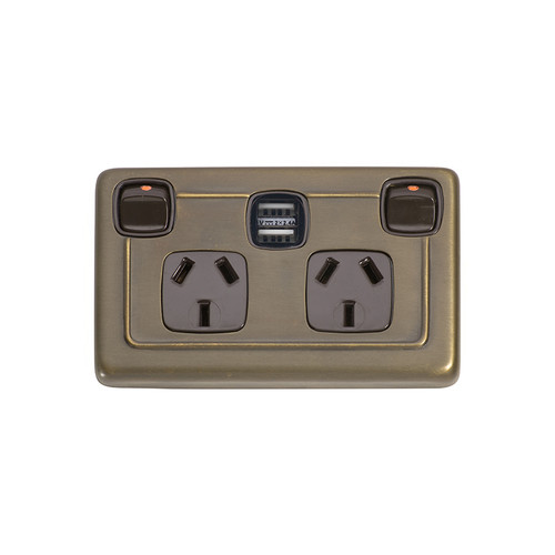 Antique Brass Double GPO with USB Outlet