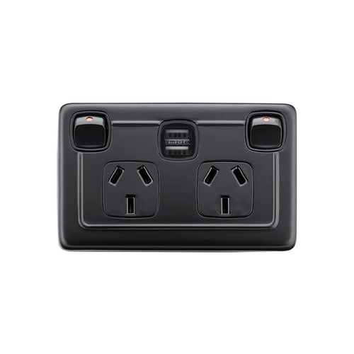 Powder Coated Matte Black Double GPO with USB Outlet
