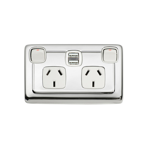 Chrome Double GPO with USB Outlet