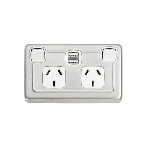 Satin Chrome Double GPO with Twin USB Outlet