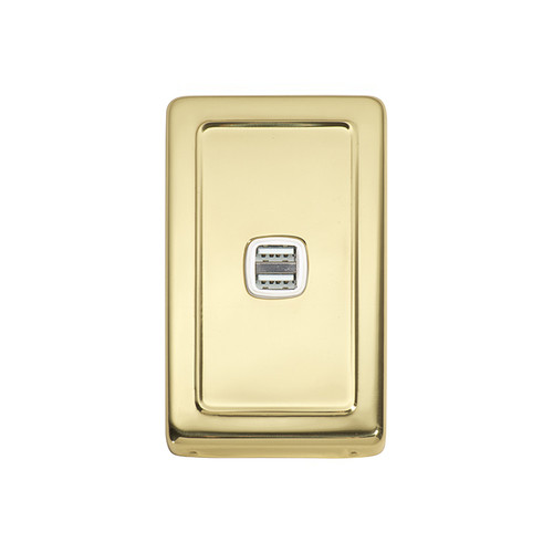Polished Brass USB Outlet Vertical Aspect