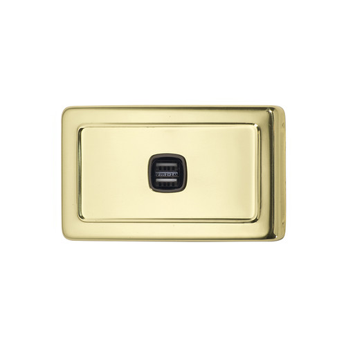 Polished Brass USB Outlet Horizontal Aspect