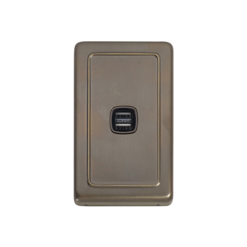 Antique Brass USB Outlet Vertical Aspect