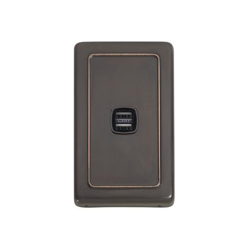 Antique Copper USB Outlet Vertical Aspect
