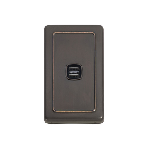 Antique Copper USB Outlet Vertical Aspect