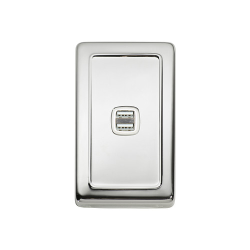 Polished Chrome USB Outlet Vertical Aspect