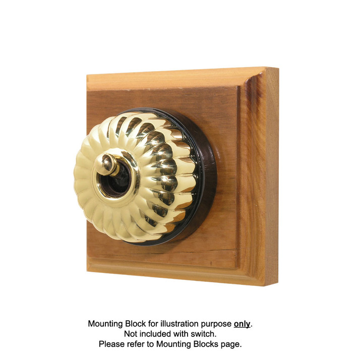 Heritage Clipsal Classic Switch Fluted with Black Porcelain Base - Brass