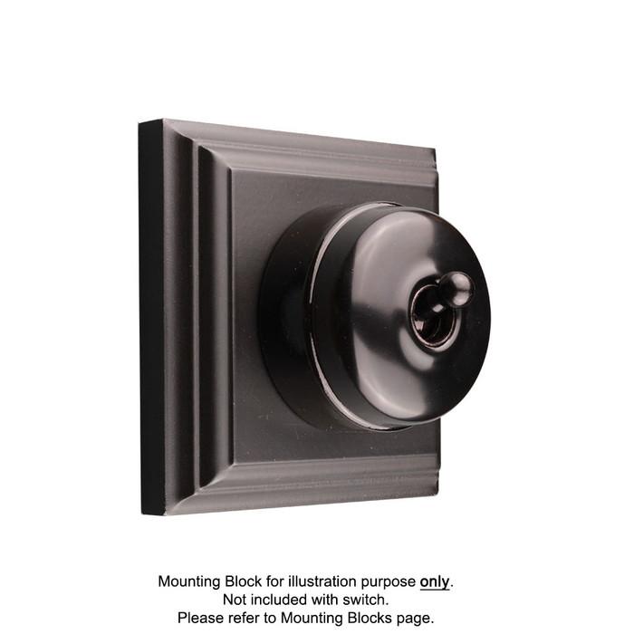 Black on Black Porcelain Base Heritage Light Switch