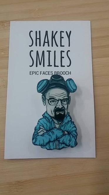Shakey Smiles - Bryan Cranston (Walter White Breaking Bad) - BADGE