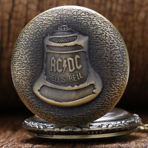 Antique Steampunk ACDC Hells Bell Quartz Pocket Watch Necklace Pendant Retro Bronze GT