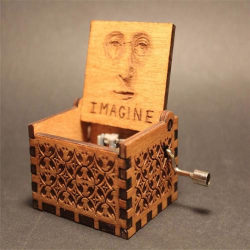 Anonymity John Lennon wooden hand crank Imagine Dragon Music Box Imagine theme Wooden Music Box