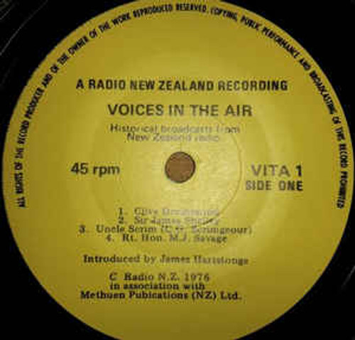 """Voices In The Air - Various (NZ) - 7"""" *USED*"""