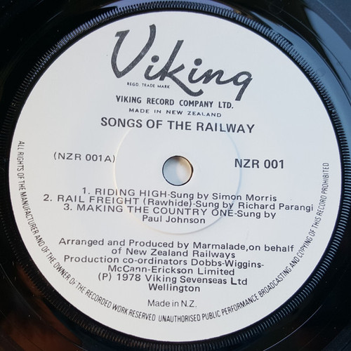 "Songs Of The Railway - Various (NZ) - 7"" *USED*"