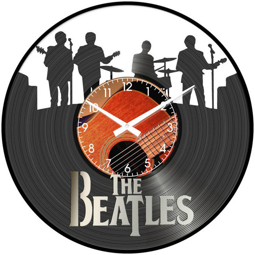 The Beatles Band The Iconic Beatles Featured on Glass Vinyl 30cm - CLOCK  *NEW*