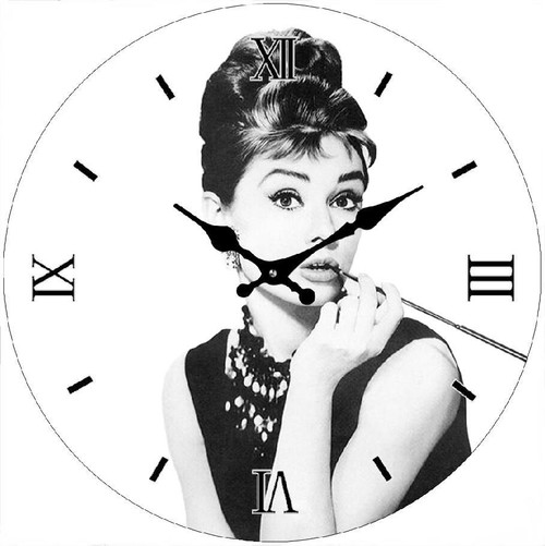 Audrey Black n White 30cm - CLOCK *NEW*