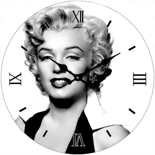 Marilyn Black n White 30cm - CLOCK *NEW*