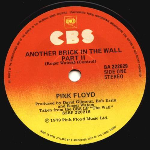 """Pink Floyd – Another Brick In The Wall (Part II) - 7"""" *USED*"""