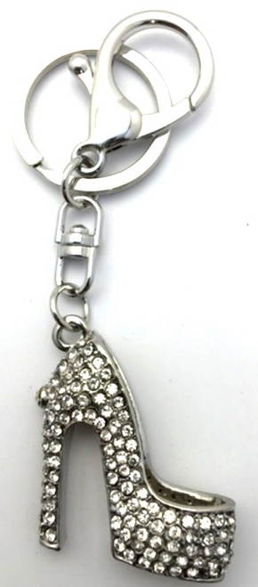 Gifts - Keyring Stiletto Shoe Silver in black gift box *NEW*