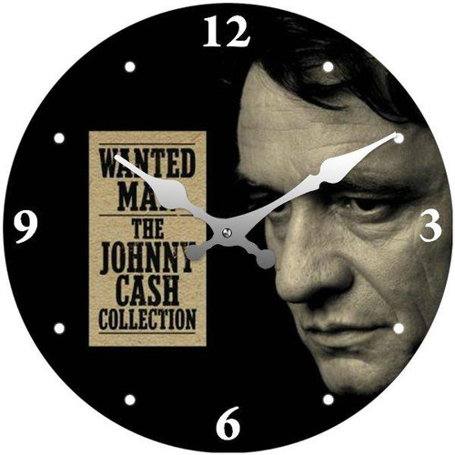 """Clock - Johnny Cash """"Wanted Man"""" 17cm Round *NEW*"""