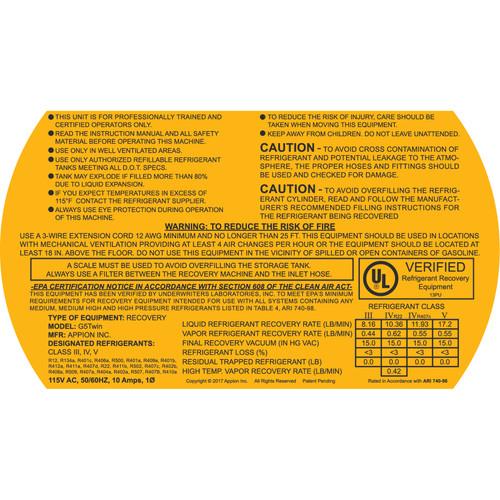 G5Twin 115v Warning Label