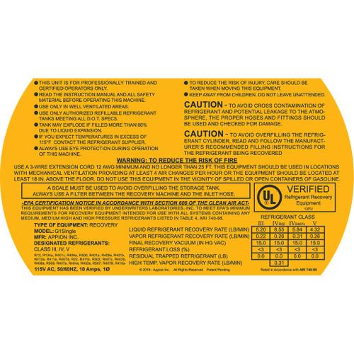 G1Single 115v Warning Label