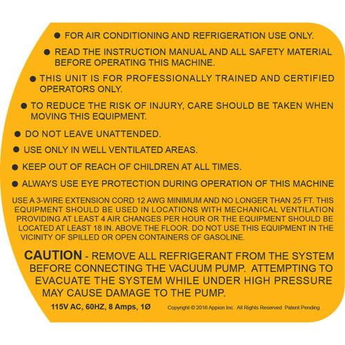 TEZ8 115v Warning Label (TEZOM Side)