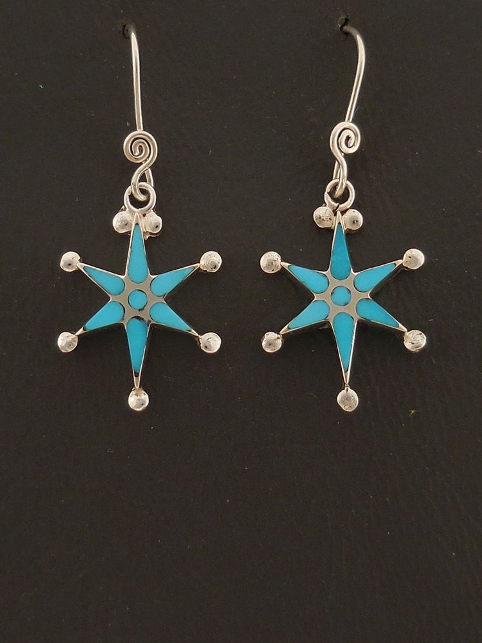 1e5990b1b Sterling Silver Star Dangle Earrings Zuni Handmade | Turquoise Inlay ...