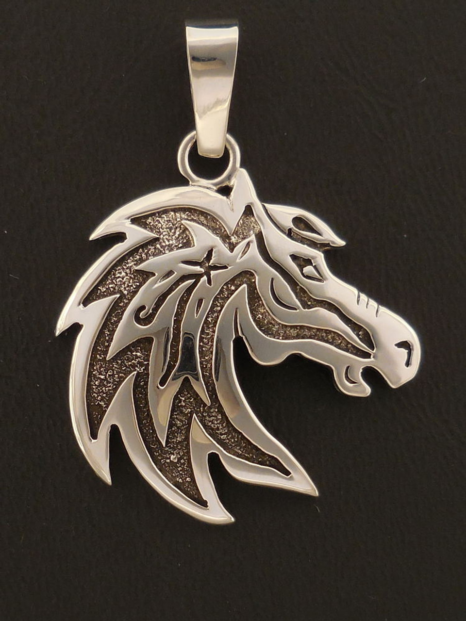 7//8 inch Tall Sterling Silver Horse Head Pendant